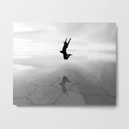 Abstract Beach | Jump for Joy Dramatic Black and White Happy Sunset Gray Bright Mood Metal Print