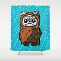 ewok Shower Curtains featuring Sugar Skull Ewok by Team Rapscallion