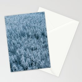Winter pine forest aerial - Landscape Photography Stationery Cards
