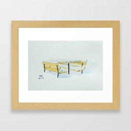 Snow on Benches I Framed Art Print