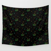 marijuana Wall Tapestries featuring Crazy Marijuana Leaves by NataliSven