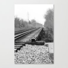 Railroad Tracks Black and White Photography Canvas Print