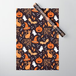 Halloween party illustrations orange, black Wrapping Paper