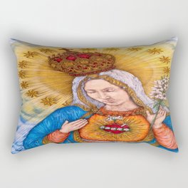 Immaculate Heart Of Virgin Mary Drawing Rectangular Pillow