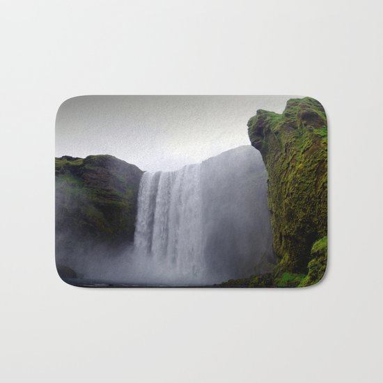 skogafoss waterfall, iceland. Bath Mat