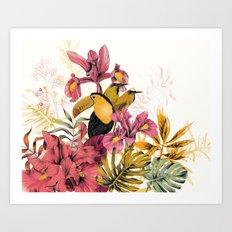 Tropical Garden Tucan Art Print