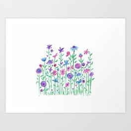 Cheerful spring flowers watercolor Art Print