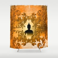 buddha Shower Curtains featuring Buddha  by nicky2342