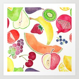 Fruit Medley on White in Watercolor Art Print