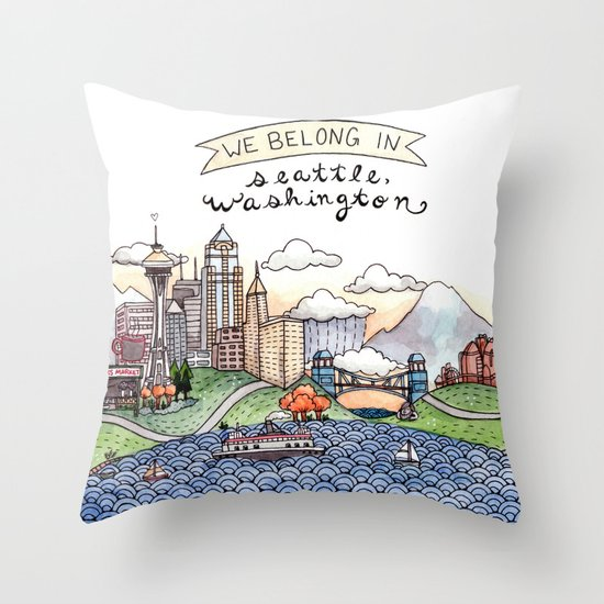 We Belong in Seattle Throw Pillow
