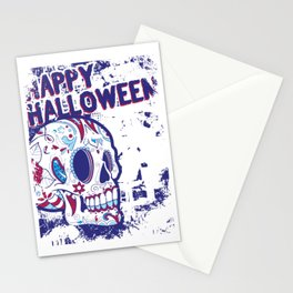 Happy Halloween Floral Sugar Skull Stationery Cards