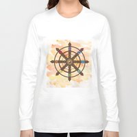 buddhism Long Sleeve T-shirts featuring Buddhism Dharma Wheel by Rachael Amber
