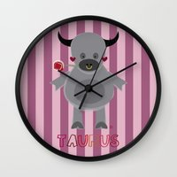 taurus Wall Clocks featuring Taurus by Esther Ilustra