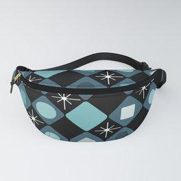 Mid Century Modern Black & Turquoise Diamonds Fanny Pack