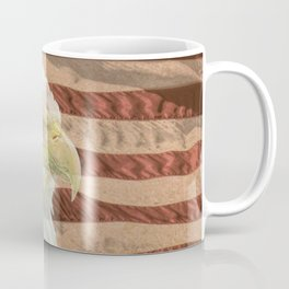 Rustic Bald Eagle on American Flag A213 Coffee Mug
