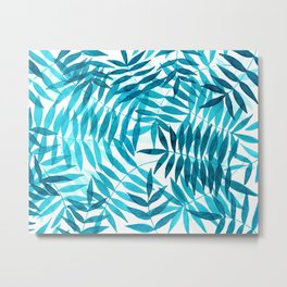 Watercolor palm leaves in turquoise blue Metal Print