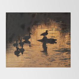 Wood Duck Silhouettes Throw Blanket
