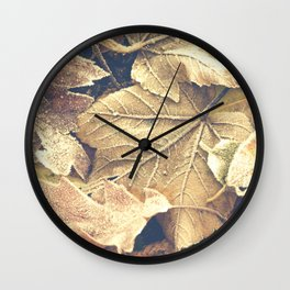 Frosty Autumn Leaves Wall Clock