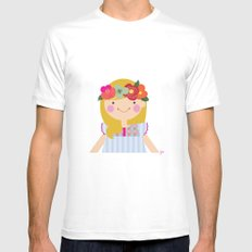 Flower crown girl MEDIUM Mens Fitted Tee White