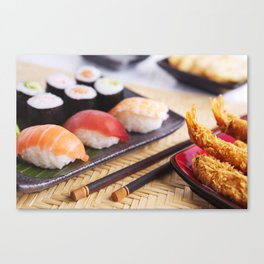 Shrimp tempura and various Japanese sushi on a plate Canvas Print
