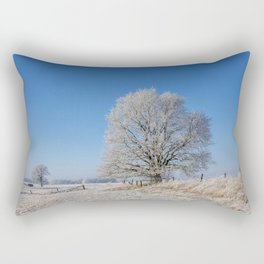 Winter Idyll In The North Of Germany With Majestic Old Tree Rectangular Pillow