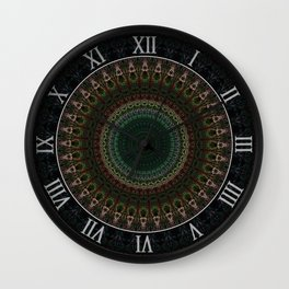 Detailed mandala with spikes Wall Clock
