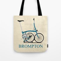 brompton Tote Bags featuring Brompton Bike by Wyatt Design