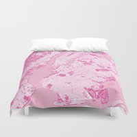 new york map Duvet Covers featuring New York Map - Pink by PinkMaps