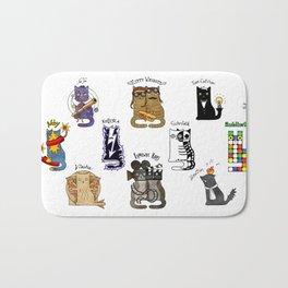 Science cats. History of great discoveries. Schrödinger cat, Tesla, Einstein. Physics, chemistry etc Bath Mat