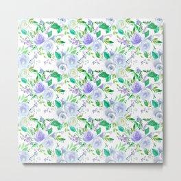Elegant lilac purple green watercolor hand painted floral Metal Print