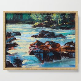 Toby Waters creek painting by Dennis Weber / ShreddyStudio Serving Tray