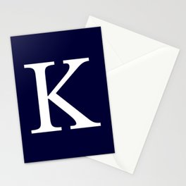 Navy Blue Basic Monogram K Stationery Cards