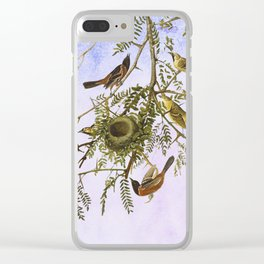Sky Blue Pink with birds Clear iPhone Case