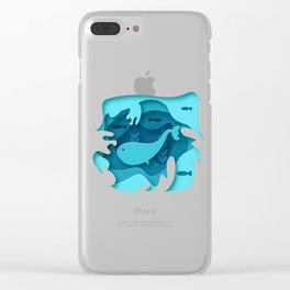 Blue Whale 3D Clear iPhone Case
