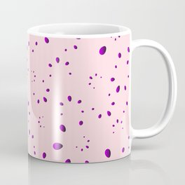 A lot of blueberry drops and petals on a pink background in mother of pearl. Coffee Mug