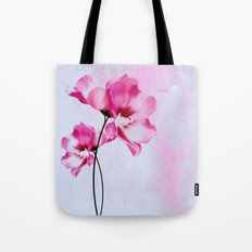 two pinks flowers on watercolors Tote Bag
