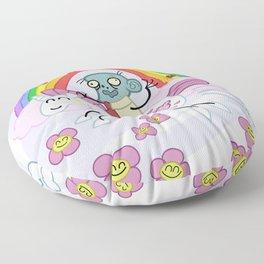 Unicorn Rainbow Ride to Love - Steve, the loving zombie Floor Pillow