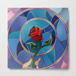 Enchanted Rose Stained Glass  beauty and the beast Metal Print