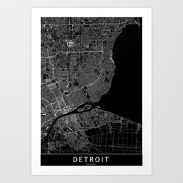 Detroit Black Map Art Print