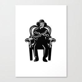 Man Gagged Chained to Grand Arm Chair Woodcut Canvas Print