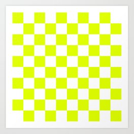 Chartreuse Checkers Pattern Art Print