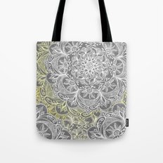 Yellow & White Mandalas on Grey Tote Bag