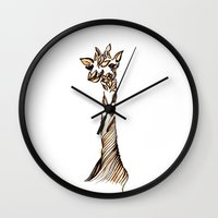 giraffe Wall Clocks featuring Giraffe by Ilariabp.art
