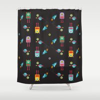 cyclops Shower Curtains featuring CYCLOPS BLACK by Sofia Verger