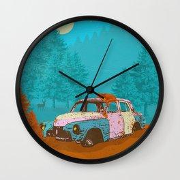 FOX & OLD RUSTY CAR Wall Clock