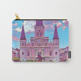 Colorful Iconic New Orleans French Quarter Architecture and Green Nature with Light Blue Sky Clouds Carry-All Pouch