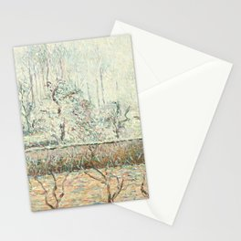"""Camille Pissarro """"Paysage avec Maisons et Mur de Cloture, Givre et Brume, Éragny"""" Stationery Cards"""