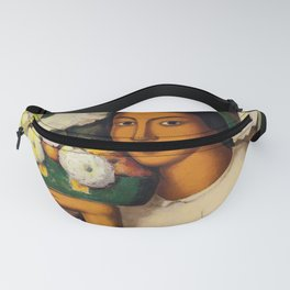 Mujer con Fiores (Bell Flowers, Dahlia & Calla Lilies) by Alfredo Martinez Fanny Pack