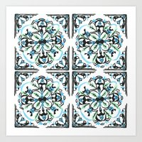 morrocan Art Prints featuring Morrocan tile  by Arabella India