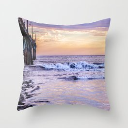 Ever Changing Cayucos Pier and Beach California Throw Pillow